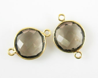 Gemstone Connectors-Bezel Gem Connectors-Vermeil-Smokey Quartz-Coin Shape Links( 20mm-2pcs )-Jewelry Making Supplies- SKU :209101-SMQ-12