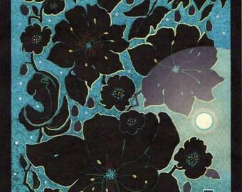 RISING MOON, Botanical Garden Night Stars Blue Original Drawing Print on Rice paper includes black mat, Ready to Frame 8x10