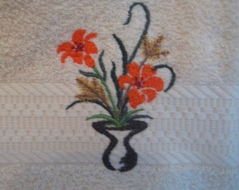 Hand Towel with Modern Flowers in Vase