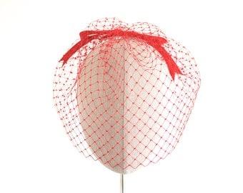 Red Birdcage Veil Vintage 12 Inch English Veiling Bow Back Alternative Blusher Veil