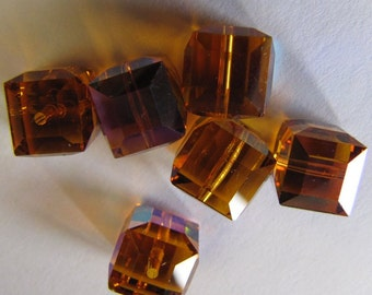 20 Wholesale Faceted Swarovski Crystal Cubes 8mm 5601 Light Topaz AB New Britz Beads Supply