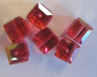 20 Wholesale Faceted Swarovski Crystal Cubes 8mm 5601 Fuchsia AB  New Britz Beads Supply