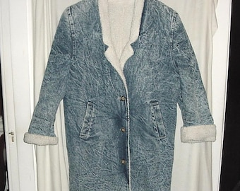 Vintage 80s Ladies Stone Wash Denim Sherling Lined Coat L