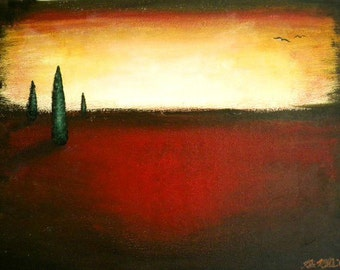 "Surrealist Art - Red & Yellow Landscape w/ Green Trees, Ethereal Acrylic Painting - Medium - 12"" x 16"" on Canvas Board (Surrealism)"