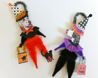 English Setter HALLOWEEN Trick or Treat vintage style CHENILLE ORNAMENTS set of 2