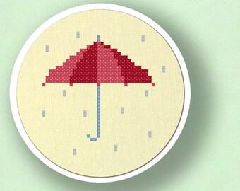 Rainy days. Umbrella Cross Stitch PDF Pattern
