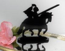 Knight Shining Armor Medieval bride horseback romantic Silhouette Wedding Cake Topper
