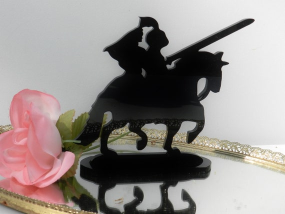 Knight Shining Armor Medieval bride horseback romantic Silhouette Wedding Cake Topper