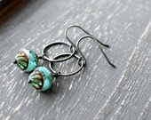 Ice Clouds Dangle Earrings Aqua BlueTurquoise Oxidized Sterling Silver Patina Rustic Glass Bead, Silver Earrings