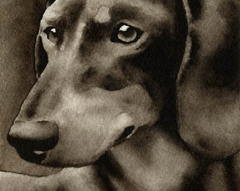 DACHSHUND Sepia Art Print Signed by Watercolor Artist DJ Rogers