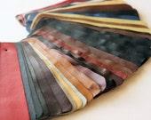 Set no2 36 pcs Leather Samples  scraps Mixed Colors