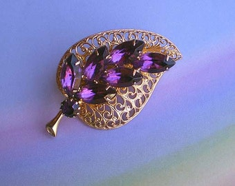 Vintage 60s Purple Rhinestone Filigree Leaf Pin