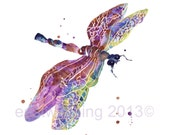 DRAGONFLY Art, 5x7 print, SMALL, mothers day, springtime, nature, dragonfly painting