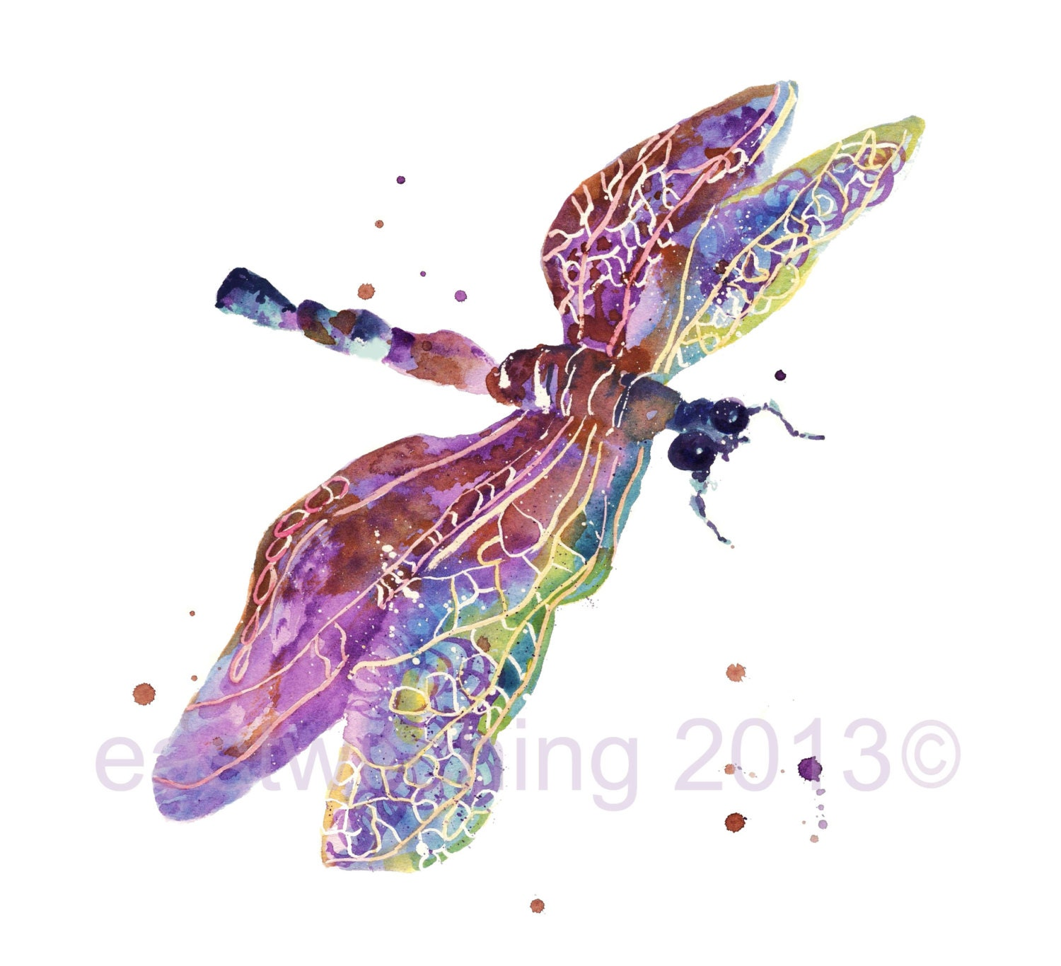 From List Of Names In Colo A Mini Portrait Of Lives: DRAGONFLY Art 5x7 Print SMALL Mothers Day Springtime