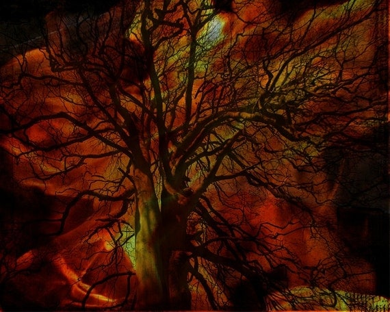 50% OFF SALE: Burning Tree Digital Art Print