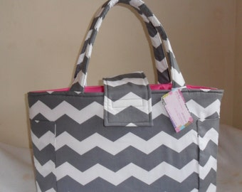 Large Gray and White Chevron with Hot Pink Diaper Bag Tote