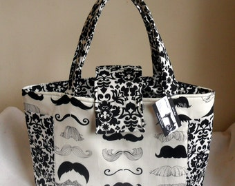 Large Where's My Stache Mustache Diaper Bag Tote with Damask Accents