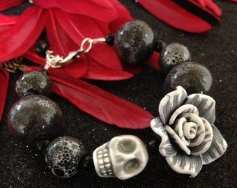 Day of the Dead Rockabilly Gray Scale Beautiful Beads with Ceramic Skull - Every Design Tells A Story-