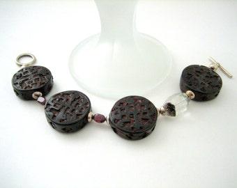 Bracelet - Decorative Wood beads - Garnet ovals- Tourmulated quartz- Sterling silver- Gift idea
