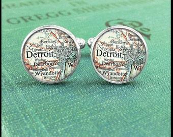 Silver Cufflinks - Vintage Detroit Michigan Map - Wearable Art- Handmade by Lisa Owens