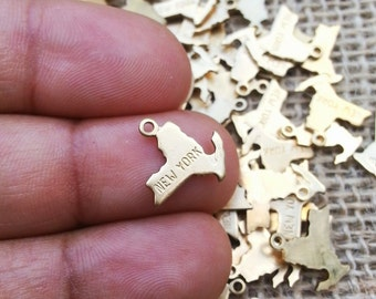 Raw Brass New York Charm, 5 pieces, Made in the USA