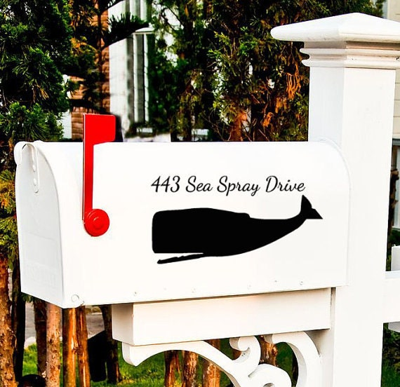 Whale mailbox Vinyl decal Fish address sticker Mail Box