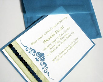 Embellished Seashell Teal and Lime Green Invitation