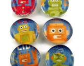 Funky Magnets Glass Refrigerator Magnets in Robot Buddies (M17a)