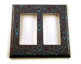 Double Rocker Light Switch Cover Wall Decor Switchplate  Switch Plate in Blue Marble  (083DR)