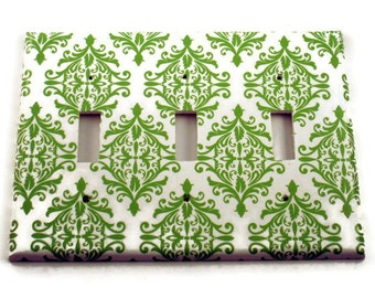 Triple Light Switch Plate  Wall Decor  Switchplate Cover in  Green  Damask (204T)