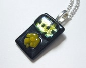 Yellow and Black Rock Candy Dichroic Fused Glass Pendant - Handmade Pendant, Handmade Jewelry, Handmade Fused Glass, Handmade Dichroic Glass