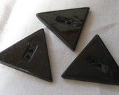 Set of 3 Large VINTAGE Triangle Black Plastic BUTTONS
