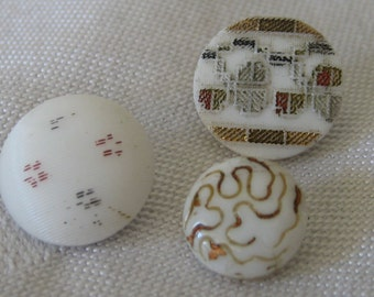 Lot of 3 ANTIQUE & Vintage Painted White Glass BUTTONS