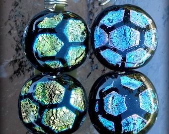 Two Handmade Lampworked Boro Borosilicate Small Coin Beads - Honeycomb  (22574)