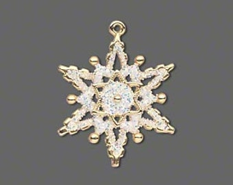 Snowflake Charm, gold-plated with white enamel and glitter.