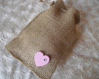 Favor Bags - SET OF 10 Heart with Crystal Burlap Wedding Favor Bag Candy Buffet Bag or Gift Bag - Item 1419