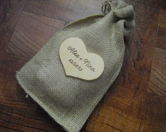 Favor Bags - SET OF 10 Personalized Wood Heart Thank You Burlap Wedding Favor Bags or Candy Buffet Bags 6x10 - Item 1555