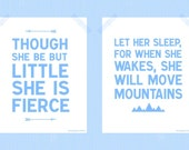 Printable Baby Girl Nursery 8 x 10 Print Set Though She Be But Little She is Fierce Let Her Sleep For When She Wakes She Will Move Mountains