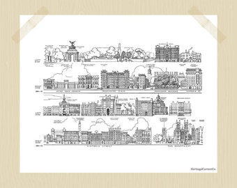 Printable 8 x 10 Vintage London Travel Print Buckingham Palace Grounds Victoria Westminster Abbey London Print City Print Black White
