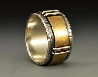 Stitches Series - Closure. Industrial 14k Gold and Silver Ring