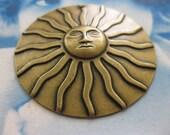 Brass Ox Plated Large Shining Sun Pendant Charm 1010BOX x1