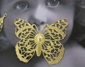 Natural Raw Brass Filigree Butterfly Stamping Pendant 921RAW x1