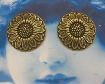 Brass Ox Plated Large Sunflower  Stamping 755BOX x2