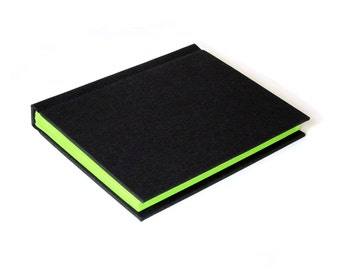 Green Page Journal - Black Cover with Neon Green Pages - Lined or Unlined - Writer Gift