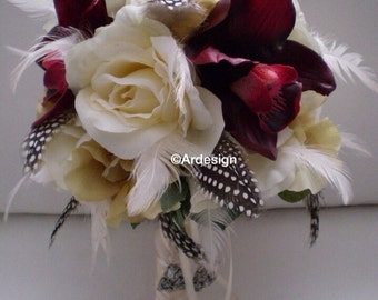 LOVE STORY Wedding Bouquet  With Feathers