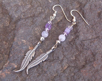 Earrings, Vintage Silver and Amethyst Beads and Swarovski Crystal Feather Earrings