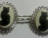 Cat, Cat cameo, Retro cat,retro kitty, kitty, cat clips, ready to ship, gifts for her, cat bobby pins, cat gift, crazy cat lady