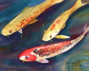 Kauai Koi Original Watercolor Painting from Kauai Hawaii orange yellow navy red