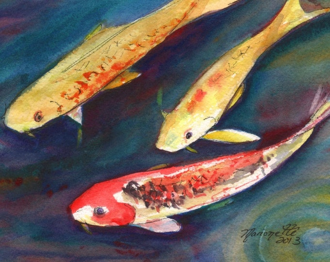 Kauai Koi Original Watercolor Painting from Kauai Hawaii orange yellow navy red