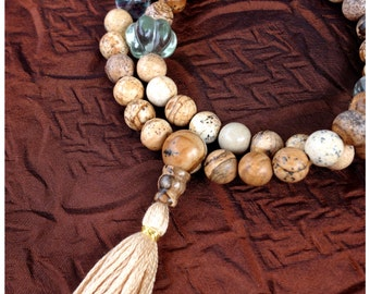 Picture Jasper Half Mala Prayer Beads w Rainbow Fluorite - 54 Beads Buddhist Rosary